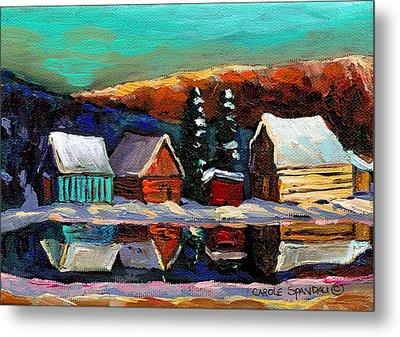 Canadian Art Laurentian Landscape Quebec Winter Scene Metal Print by Carole Spandau