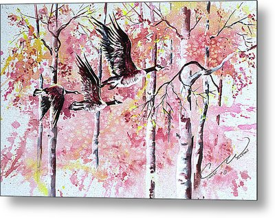 Canadian Geese In Flight Metal Print by Connie Williams