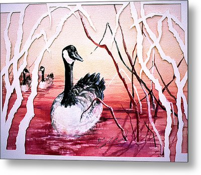 Canadian Geese Sunset Metal Print by Connie Williams