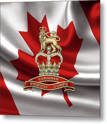 Canadian Provost Corps - C Pro C Badge Over Canadian Flag Metal Print by Serge Averbukh