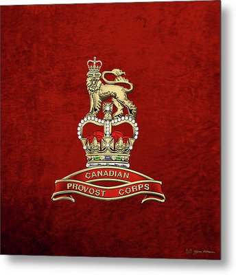 Canadian Provost Corps - C Pro C Badge Over Red Velvet Metal Print by Serge Averbukh