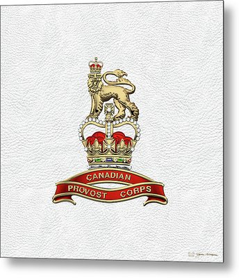 Canadian Provost Corps - C Pro C Badge Over White Leather Metal Print by Serge Averbukh