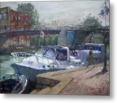 Canadian Yacht At Tonawanda Harbor Metal Print by Ylli Haruni