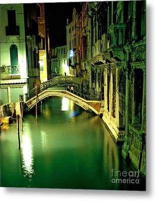 Canal And Bridge In Venice At Night Metal Print by Michael Henderson