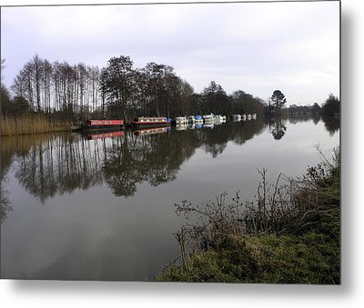 Canal Boats On The Thames Metal Print by Mike Lester
