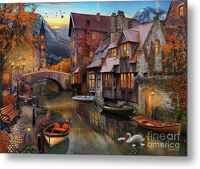 Canal Home Metal Print by MGL Meiklejohn Graphics Licensing