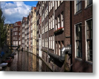 Canal Houses Metal Print by Joan Carroll