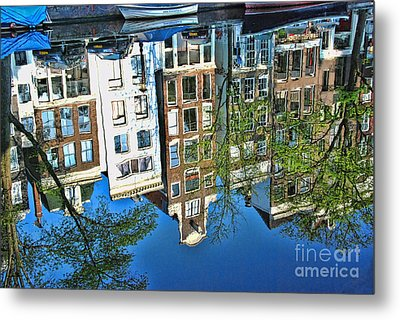 Metal Print featuring the photograph Amsterdam Canal Reflection  by Allen Beatty
