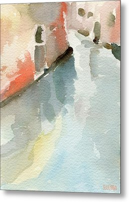 Canal Reflection Watercolor Painting Of Venice Italy Metal Print
