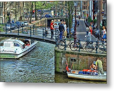 Metal Print featuring the photograph Amsterdam Canal Scene 1 by Allen Beatty
