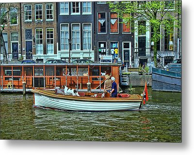 Metal Print featuring the photograph Amsterdam Canal Scene 10 by Allen Beatty