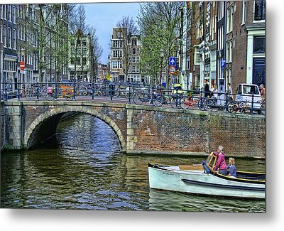 Metal Print featuring the photograph Amsterdam Canal Scene 3 by Allen Beatty