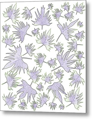 Canary Vine Leaves - Purple And Green Metal Print by Sandra Foster