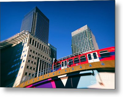 Canary Wharf Commute Metal Print by Jasna Buncic
