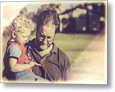 Candid Retro Father And Son Talking Metal Print by Jorgo Photography - Wall Art Gallery