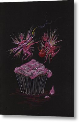 Metal Print featuring the drawing Candle Cherry by Dawn Fairies