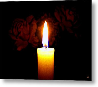 Candlelight And Roses Metal Print by Will Borden