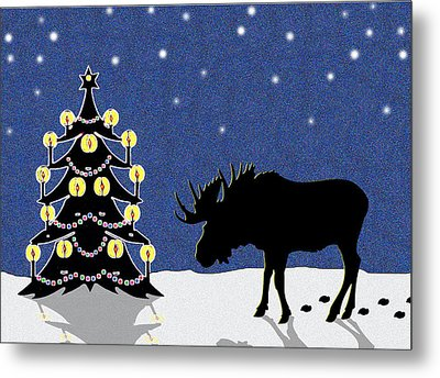 Candlelit Christmas Tree And Moose In The Snow Metal Print by Nancy Mueller