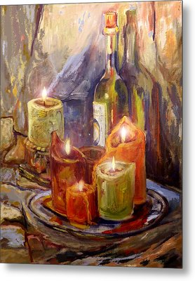 Candles And Wine Bottle Metal Print by Peggy Wilson