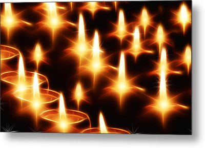 Candles Christmas Card Metal Print by Bellesouth Studio