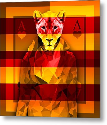 Candy Lioness Metal Print by Gallini Design