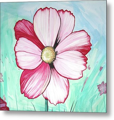 Candy Stripe Cosmos Metal Print by Mary Ellen Frazee