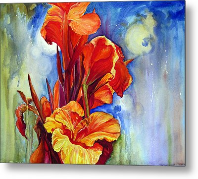 Metal Print featuring the painting Canna Lilies by Priti Lathia