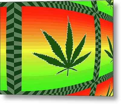 Metal Print featuring the mixed media Cannabis  by Dan Sproul
