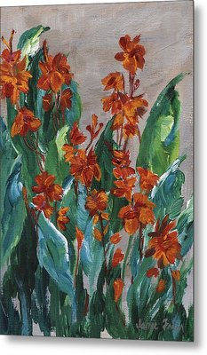 Metal Print featuring the painting Cannas by Jamie Frier