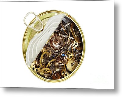 Canned Time - Parts Of Clockwork Mechanism In The Can Metal Print by Michal Boubin