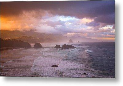 Cannon Beach Sunrise Storm Metal Print by Darren White