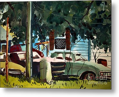 Metal Print featuring the painting Cannus Auto And Used Cars Framed by Charlie Spear