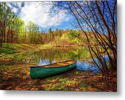 Canoe At Lakeside Metal Print by Debra and Dave Vanderlaan