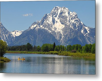 Canoe At Oxbow Bend Metal Print by Alan Lenk