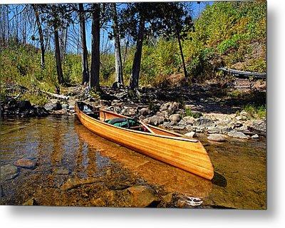 Canoe At Portage Landing Metal Print by Larry Ricker
