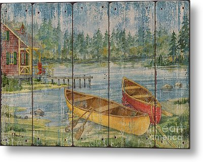 Canoe Camp With Cabin - Distressed Metal Print by Paul Brent