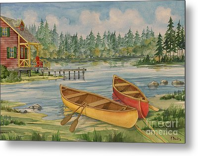 Canoe Camp With Cabin Metal Print