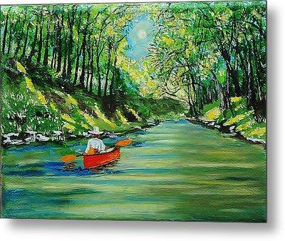 Canoe Cruising Metal Print