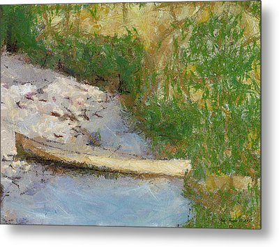 Canoe On Beach Metal Print by Nada Frazier