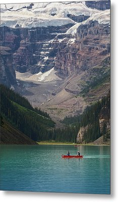 Metal Print featuring the photograph Canoe On Lake Louise by Debby Herold