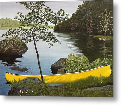 Canoe On The Bay Metal Print by Kenneth M  Kirsch