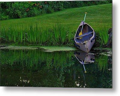 Canoe Reflection Metal Print