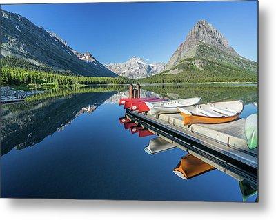 Canoe Reflections Metal Print