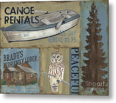 Canoe Rentals Lodge Metal Print by Debbie DeWitt