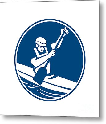 Canoe Slalom Circle Icon Metal Print by Aloysius Patrimonio