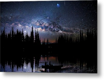Canoeing - Milky Way - Night Scene Metal Print