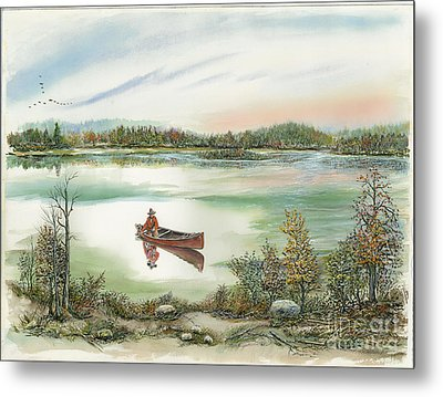 Canoeing On The Lake Metal Print by Samuel Showman