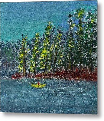 Canoeing The Lake Metal Print