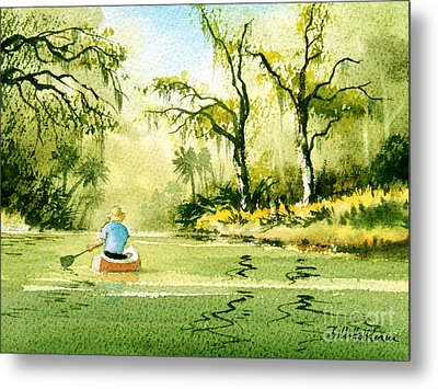 Canoeing The Rivers Of Florida II Metal Print by Bill Holkham