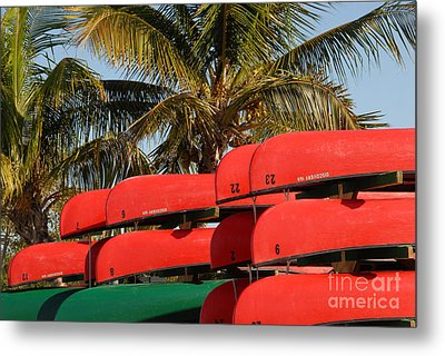 Canoe's At Flamingo Metal Print by David Lee Thompson